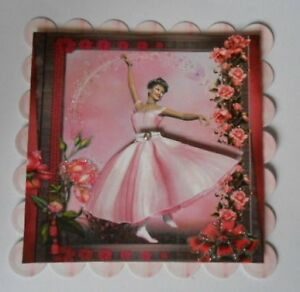 PACK-2-PINK-1950S-BALLERINA-TOPPERS-EMBELLISHMENTS-FOR-CARDS-CRAFTS