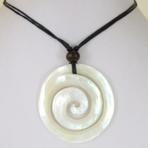 Natural Spiral Mother of Pearl Shell Pendant Cords Necklace Women Jewelry  AA027