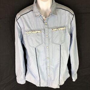 Marc-Ecko-Men-s-Blue-Pearl-Snap-Shirt-L