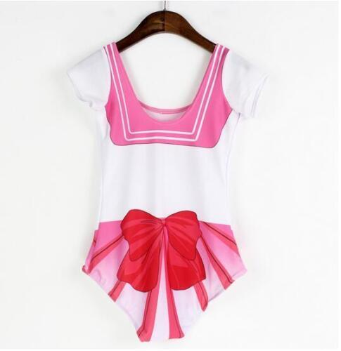 New Swimsuit Sailor moon Printed Swimsuit  Bikini S-4XL Monokini Pink