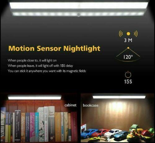 LED Motion Sensor Cabinet Lights Battery PIR Sensor Wardrobe Cupboard Light