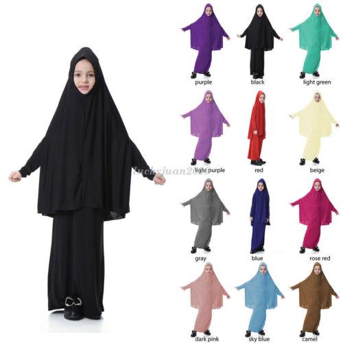 Muslim Kids Girls Kaftan Dubai Prayer Robe Islamic Abaya Hijab Big Scarf Skirt