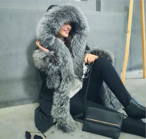 Fur Winter Women Real Warm Coat Parka Down Outwear New Luxury Hooded Lined ZHqnxZE