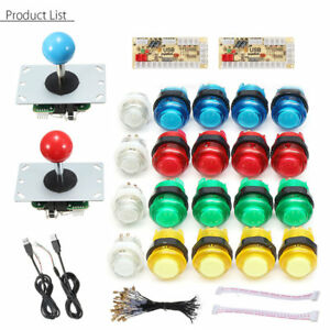 Kit-2x-Joystick-LED-Arcade-20-Botones-2-Player-USB-Controlador-DIY-Blanco