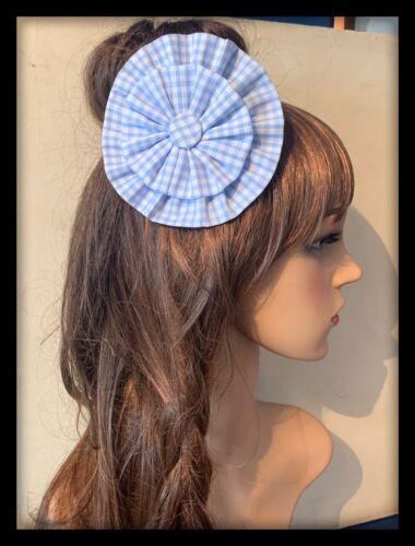 Light Blue Hair Bow Bobbles Hairband Hair Tie Band School Gingham Check Fabric