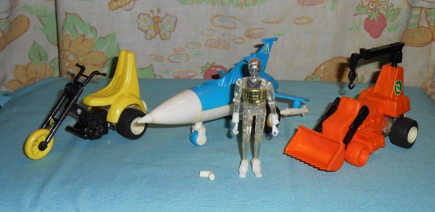 Vintage Mego Micronauts cratère Cruncher, Scooter, Photon SLED, Time Traveler Lot