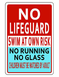 POOL SAFETY Sign DURABLE ALUMINUM NEVER RUST SWIMMING POOL SIGN FULL ...