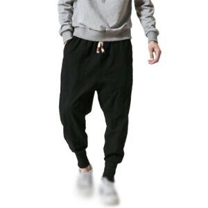Para Hombres Estilo Chino Algodon Lino Pantalones Elastico En La Cintura Pantalones Deportivos Pantalones Informal L Ebay