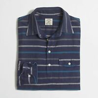 J. Crew Factory - S - - Blue Striped L/s Brushed Cotton Pull-over Shirt