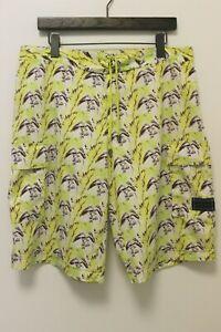 Vintage-BURBERRY-London-Mens-Yellow-Patterned-Swim-Trunks-Shorts-W-Pockets-Sz-L