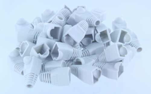 50pcs White CAT5E CAT6 RJ45 Ethernet Network Cable Strain Relief Boots
