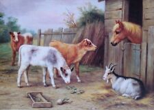 old art by Edgar Hunt pony, calves , goat in barnyard