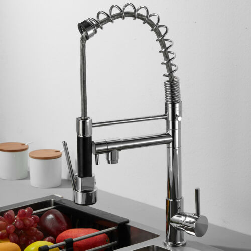 Modern Monobloc Kitchen Mixer Tap with Pull Out Hose 360° Swivel Spray 2*Hoses