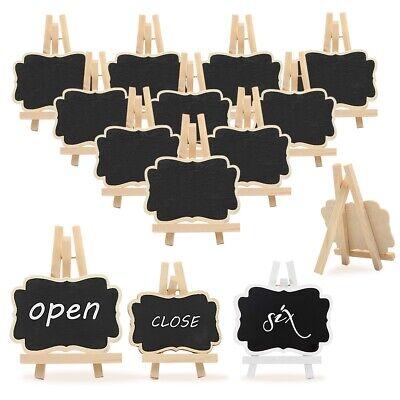 10Pcs Wooden Mini Blackboard Memo Sign Message Chalk Boards Home Office