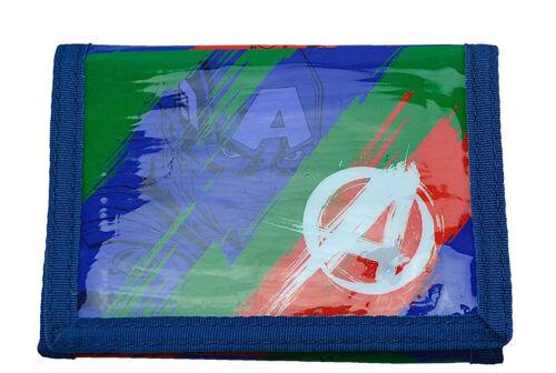 Avengers Splash Design Blue Red Green Tri-Fold Childrens Wallet Kids Hook /& Loop