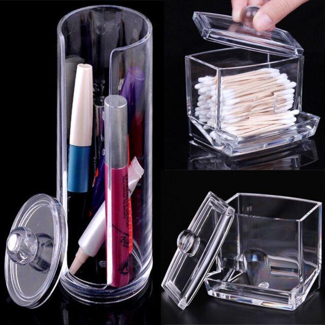 Cosmetic Makeup Case Clear Q-tip Storage Holder Cotton Pad Swab Box Organizer JS