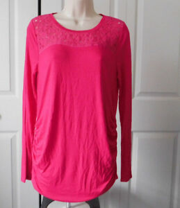 877f4b29fc3fa Kohls A:GLOW Womens MATERNITY Fushia Pink Floral Lace Yoke Ruched ...