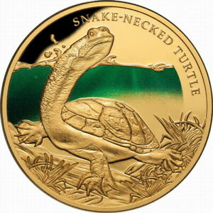Niue-2020-Remarkable-Reptiles-Snake-Necked-Turtle-100-1-Oz-Gold-Prf-MINTAGE-150