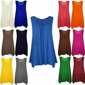 Ladies Sleeveless Plain 2 Side Pocket Hanky Hem Vest Top Womens Flared Tunic Top