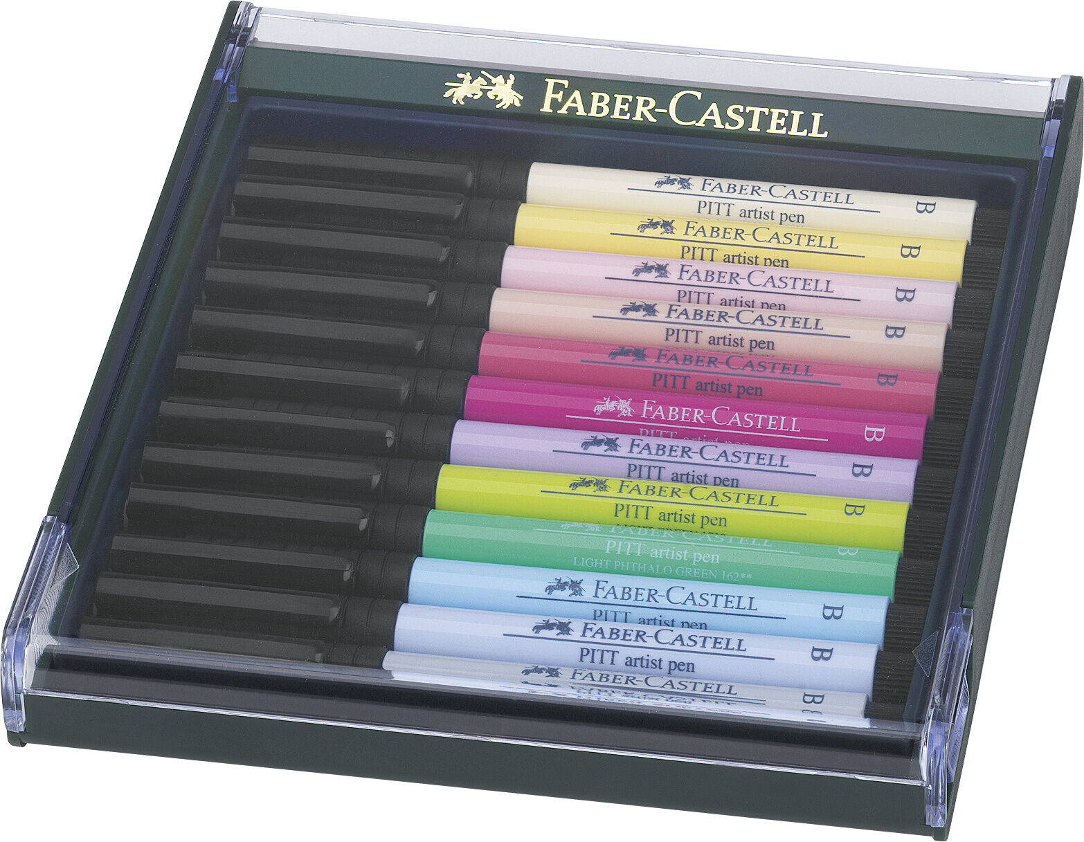 Faber Castell Tuschestift PITT artist pen brush 12er Etui Pastell | Bekannt für seine schöne Qualität  | Einfach zu bedienen  | Schön und charmant