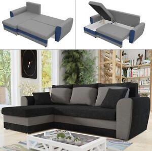 Details zu Ecksofa Dortmund Mit Schlaffunktion und Bettkasten Eckcouch  Couch Modern Sofa