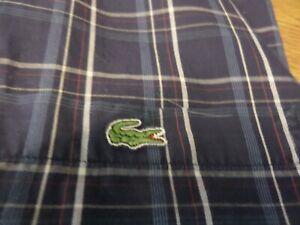 100-authentique-Devanlay-LACOSTE-manches-courtes-chemise-a-carreaux-en-taille-44-2XL-fantastique