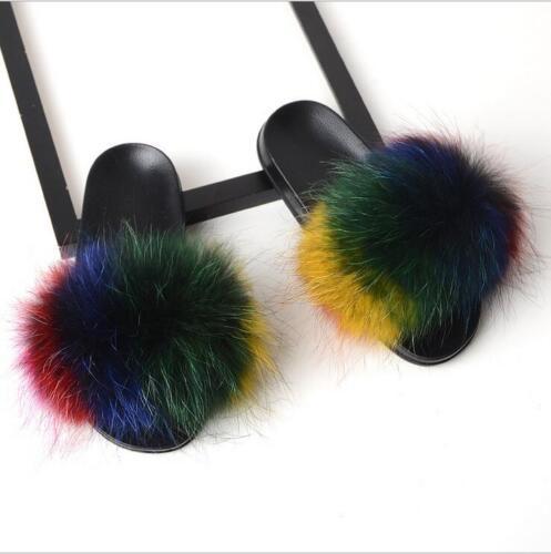 Luxury Lady Fluffy Real Fox Fur Slippers Raccoon Sandal Shoes Womens Flat Slides
