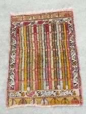 Fantastic Antique Turkish Anatolian Konya Yastic Ushak Stripes Rug Carpet 19x29""