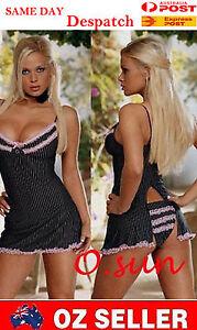 Women-Stripes-Sexy-Lingerie-Mini-Dress-T-Back-Babydoll-Club-Dance-Pole-Size6-12