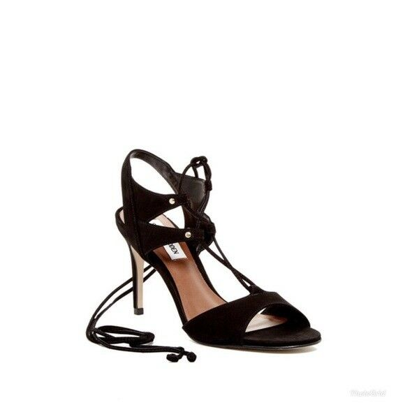 Steve Madden Womens Black Suede Lace Up Sandals Leather Heels Party Sz 9.5 NIB