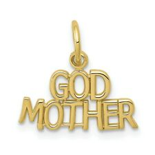 Solid 10k Yellow Gold Godmother Charm Pendant 15mm x 16mm