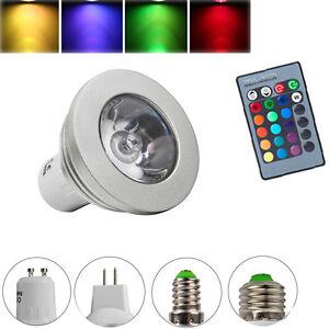 Memory-Function-GU10-MR16-E14-E27-3W-LED-RGB-Gluehbirne-Fernbedienung-Farbwechsel