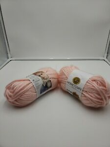 2 Skeins Lion Brand Hometown Yarn Providence Pink Acrylic Super Bulky 142g 81yds