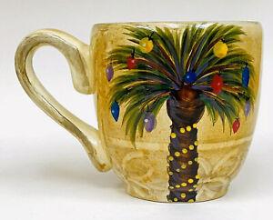 Tabletops-Unlimited-BELLAGIO-CHRISTMAS-Palm-Tree-Holiday-Coffee-Mug-Cup-HTF