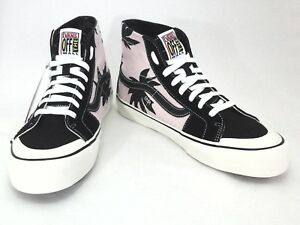 1c389365527a51 VANS High Top Shoes Skate SK8 Pink Black Palm Floral Unisex Mens 8 ...