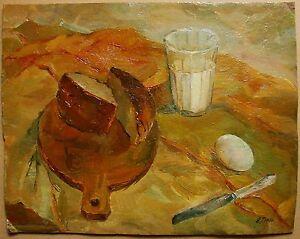 Russian-Ukrainian-Soviet-Oil-Painting-Still-Life-realism-glass-milk-bread-egg
