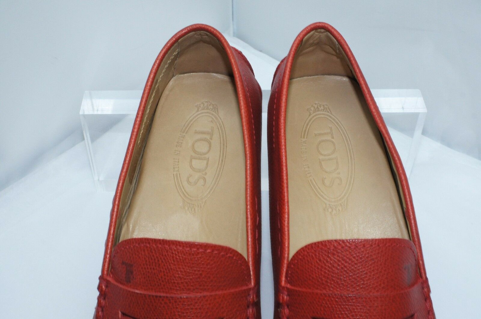 New Mocassin Tod's Uomo Red Shoes Loafers Drivers Size 8 Mocassin New Gommini Pelle 42979d