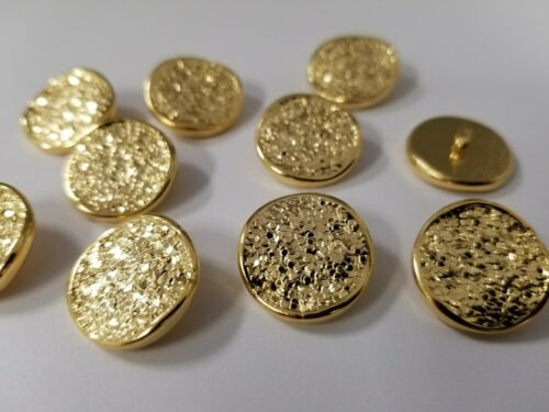 VINTAGE BUTTONS SET OF 12 SHINY GOLD DESIGN DUZ54
