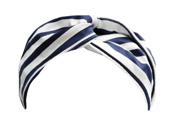 SLIP SILK Womens Twist Stripe Knot Headband Navy Blue White One Size (MSRP $70)