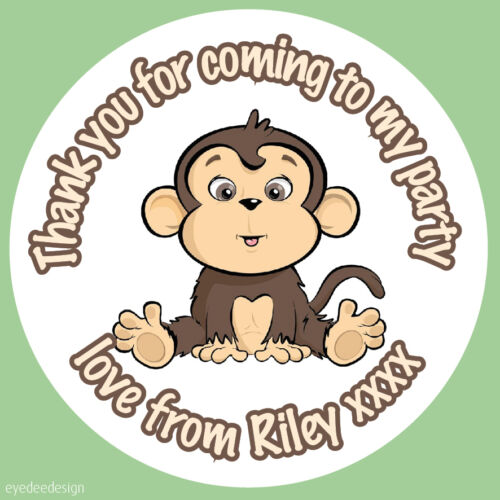 35x Personalised Cute Funny Monkey Zoo Birthday Stickers Party Loot bag Cake 296