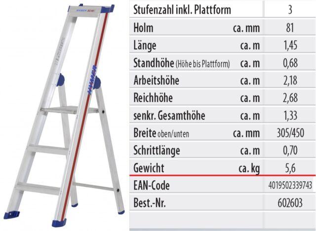 Aluleiter Einseitige Stufenstehleiter Ablageschale Leiterlänge wählbar