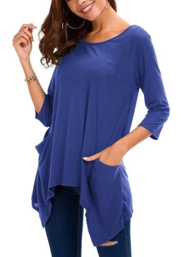 Urban CoCo Women/'s Blue 3//4 Sleeve Flowy 2 Pocket Tunic T-Shirt Size Med