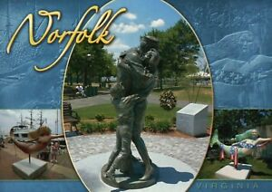 Details about The Homecoming Statue Town Point Park Norfolk Virginia US  Navy Mermaids Postcard