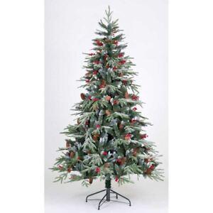 Xmas-Christmas-Tree-5ft-150-CM-Ontario-Spruce-PE-Flocked-411-Tips-Snow-Luxury
