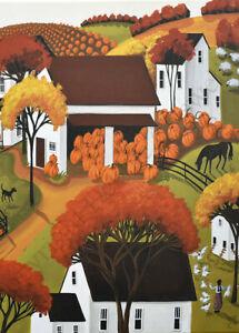 Giclee-ACEO-folk-art-print-landscape-dog-pumpkin-patch-barn-hens-house-country