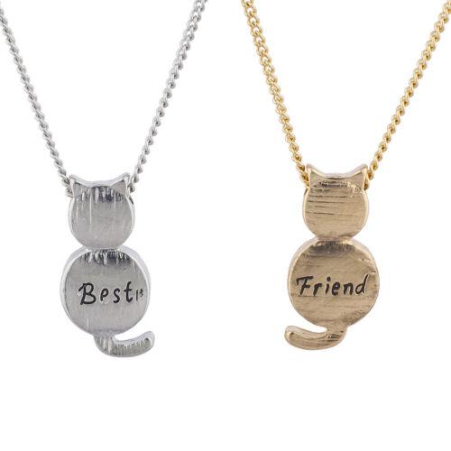 Lux Accessories Gold Silver Tone Cat Best Friend BFF Charm Necklace Set 2PC