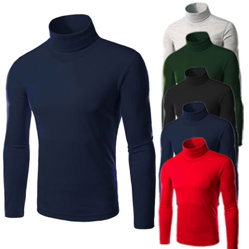 Mens Knitted Polo Roll Turtle Necks Pullover Sweater Jumper Tops New Casual Slim