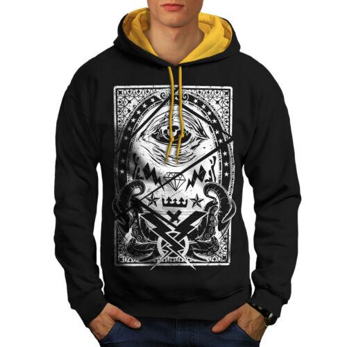 Vintage con New cappuccio Illuminati Contrasti Black Felpa cappuccio Uomo oro STaI7Sq