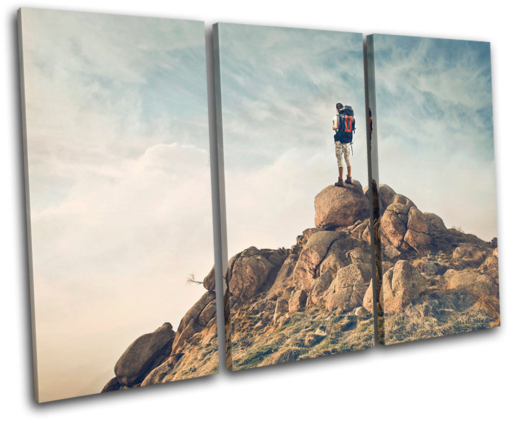 Boulder Backpacking  Sports TREBLE Leinwand Wand Kunst Bild drucken