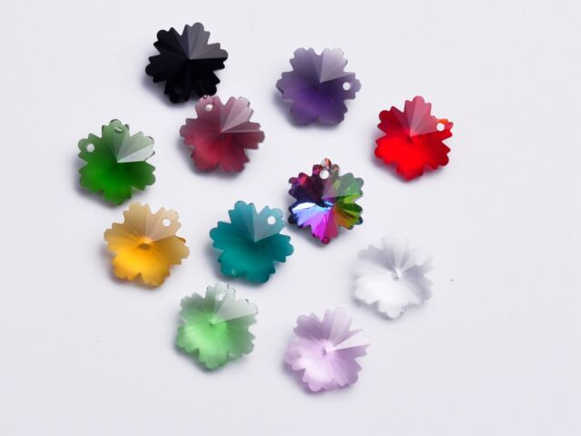 10pcs 14mm Snowflake Loose Faceted Crystal Glass Pendants Craft Beads Mixed